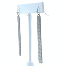 Silver Hammered Bar Dangle Earrings For Women - Costume Jewelry