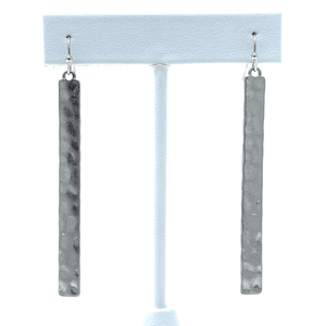 Silver Hammered Bar Drop Earrings For Women - Costume Jewelry