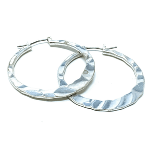 Silver Hammered Circle Hoop Earrings For Women - Costume Jewelry