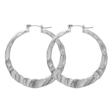 Silver Hoop Hammered Earrings - Fashion Jewelry