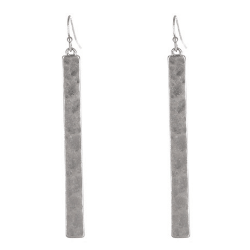 Silver Hammered Bar Dangle Drop Earrings For Women - Fashion Jewelry