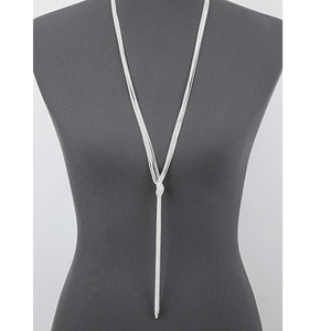 Silver Knotted Multi Chain Lariat Necklace - Silver Necklace For Women