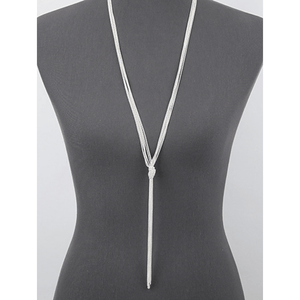 Silver Knotted Multi Chain Lariat Necklace - Fashion Jewelry