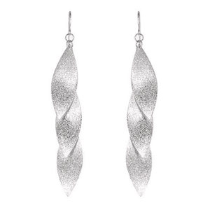 Long Silver Layered Leaf Dangle Statement Earrings - Fashion Jewelry