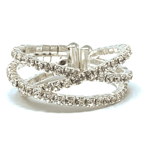 Clear Rhinestone Silver Crossover Cuff Style Stretch Ring - Fashion Jewelry