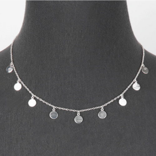 Silver Multi Disc Charm Necklace - Costume Jewelry