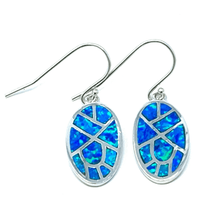 Oval Sterling Silver Mosaic Blue Opal Dangle Earrings - SeaSpray Jewelry