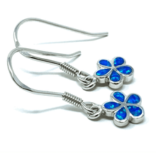 Silver Plumeria Flower Blue Opal Earrings - SeaSpray Jewelry