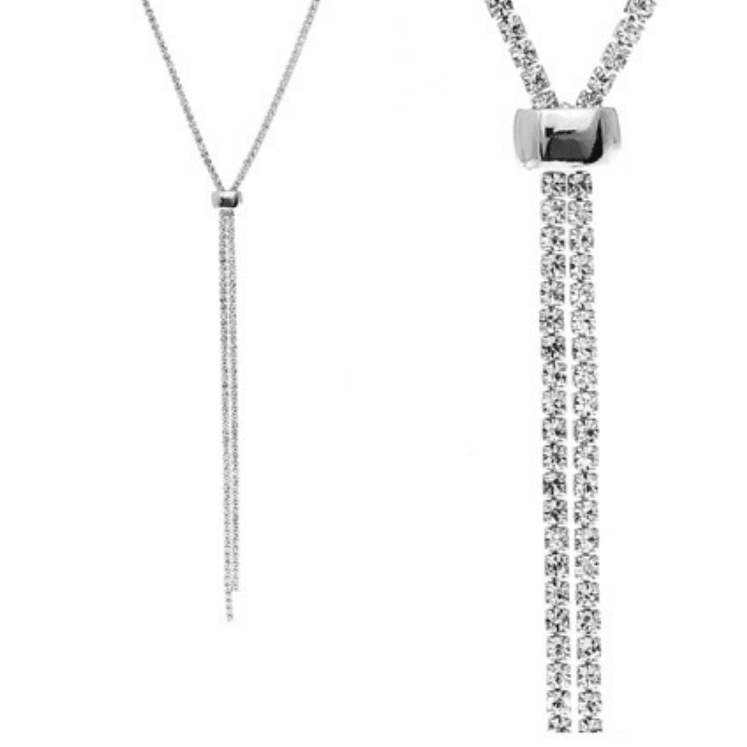 Rhinestone Slide Necklace In Silver - Fashion Jewelry For Women