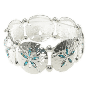 Sand Dollar Stretch Bracelet With Blue Glitter Inlay - Ocean Bracelet