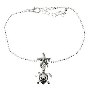 Silver Sea Turtle Charm Anklet - Ankle Bracelet - Beach Jewelry