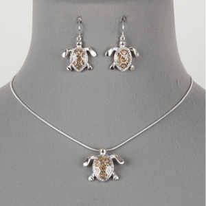 Silver Sea Turtle Pendant Necklace Set - Nautical Jewelry