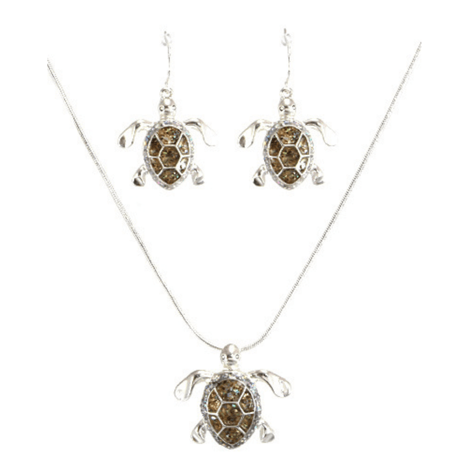 Silver Sea Turtle Pendant Necklace Set