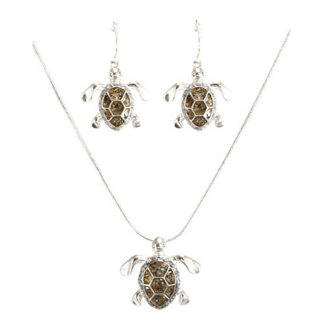 Silver Sea Turtle Pendant Necklace Set - Beach Jewelry