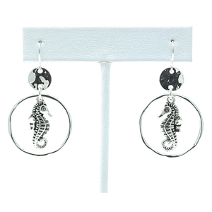 Silver Seahorse Circle Hoop Dangle Beach Earrings For Women - Costume Jewelry