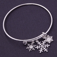 Silver Snowflake Bangle Christmas Bracelet - Christmas Jewelry