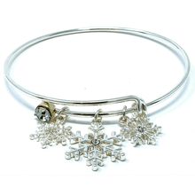 Silver Snowflake Bangle Christmas Bracelet - Fashion Jewelry