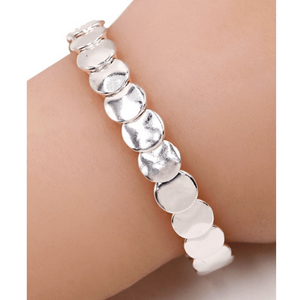 Silver Disc Stacking Stretch Bracelet - Boho Jewelry