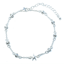 Silver Starfish Ankle Bracelet With Clear Rhinestones - Beach Anklets
