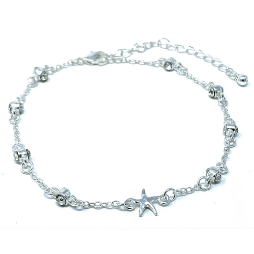 Silver Starfish Anklet With Clear Rhinestone - Ankle Bracelet