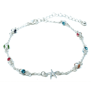 Silver Starfish Anklet With Multi Color Rhinestone - Beach Anklets