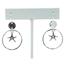 Silver Starfish Beach Earrings With Rhinestone Accent - Costume Jewelry