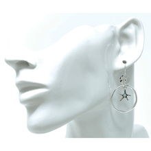 Silver Starfish Circle Hoop Earrings With Rhinestone Accent - Fashion Jewelry