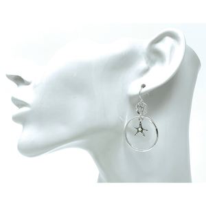 Silver Starfish Circle Hoop Earrings Rhinestone Accent - Fashion Jewelry