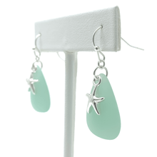 Silver Starfish with Green Sea Glass Earrings For Women - Costume Jewelry