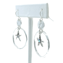 Silver Starfish Nautical Earrings With Rhinestone Accent - Costume Jewelry