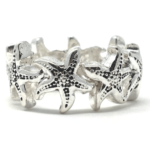 Silver Starfish Stretch Ring - Fashion Jewelry
