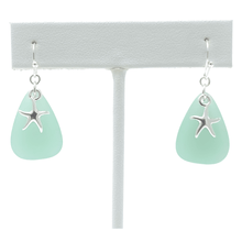 Silver Starfish with Green Sea Glass Earrings For Women - Fashion Jewelry