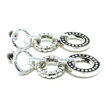 Silver Textured Linked Open Circle Drop Earrings