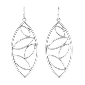 Silver Cutout Design Teardrop Earrings For Women