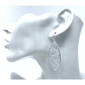 Silver Teardrop Leaf Open Cut Dangle Earrings For Women - Fashion Jewelry