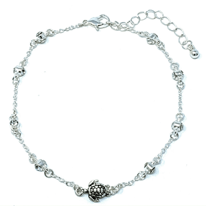 Silver Turtle Ankle Bracelet With Clear Rhinestone - Beach Anklets