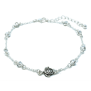 Silver Turtle Anklet With Clear Rhinestone - Ankle Bracelet