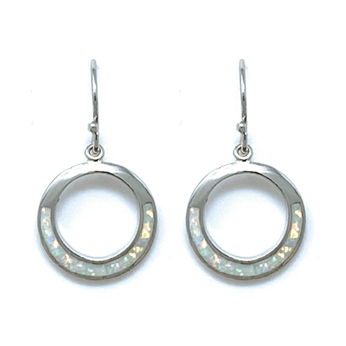 Silver White Opal Open Circle Earrings - Sterling Silver Jewelry