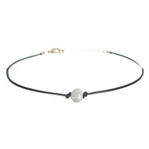 Single Pearl Black Choker Necklace - Necklaces For Women