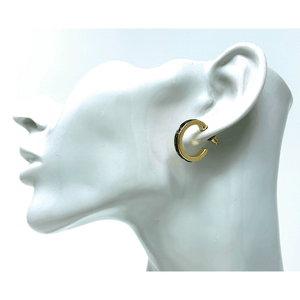 Small Gold Hoop Earrings With Abalone Shell Inlay