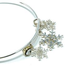 Silver Snowflake Bangle Christmas Bracelet - Costume Jewelry