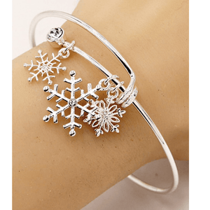 Silver Snowflake Bangle Christmas Bracelet
