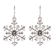 Silver Snowflake Christmas Earrings - Christmas Jewelry