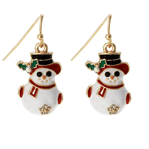 Snowman Christmas Earrings - Holiday Earrings - Christmas Jewelry