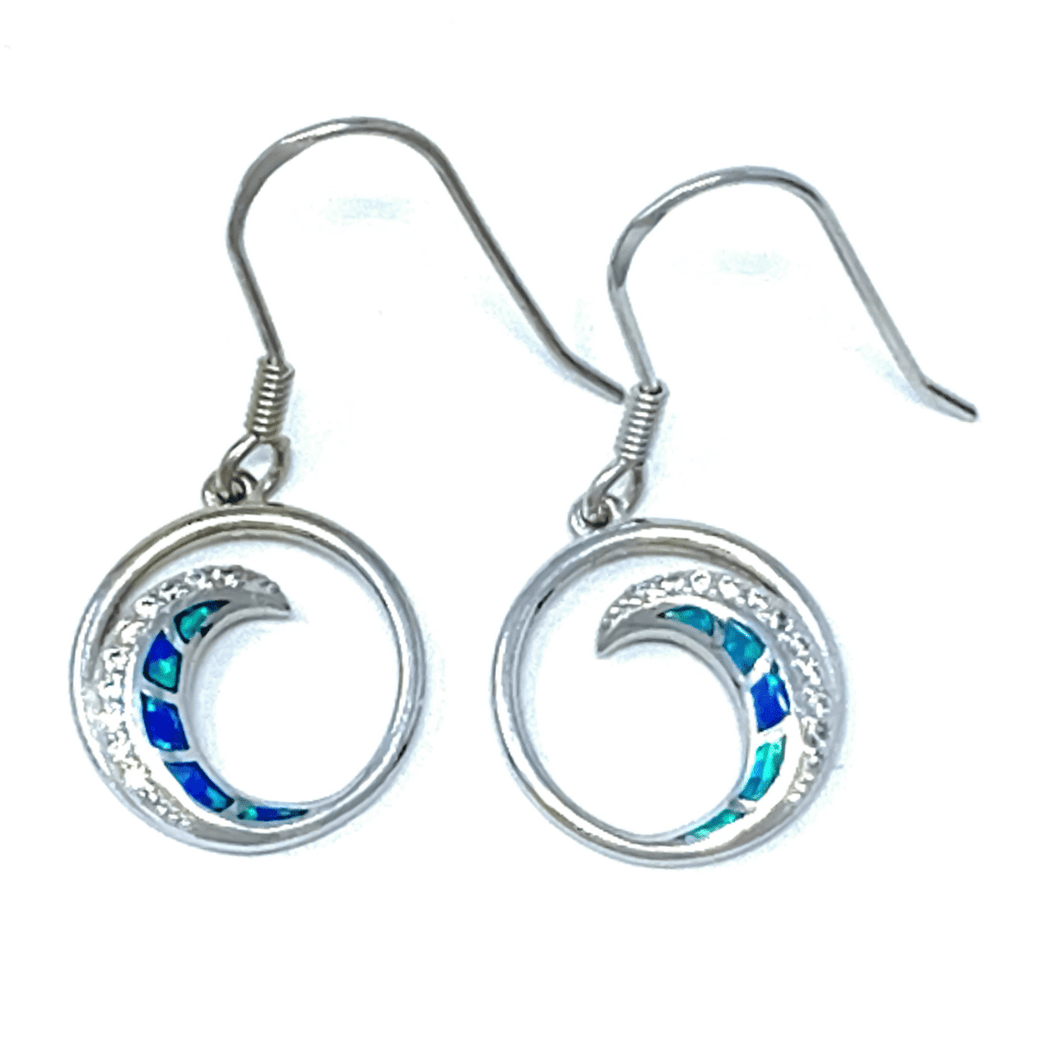 Blue Opal & CZ Wave Earrings In Sterling Silver - SeaSpray Jewelry