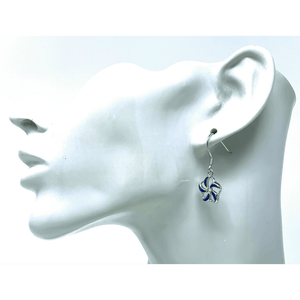 Sterling Silver Blue Opal Flower Dangle Earrings - SeaSpray Jewelry