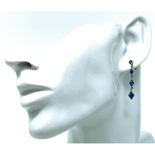 Sterling Silver Blue Opal Stud Drop Earrings - SeaSpray Jewelry
