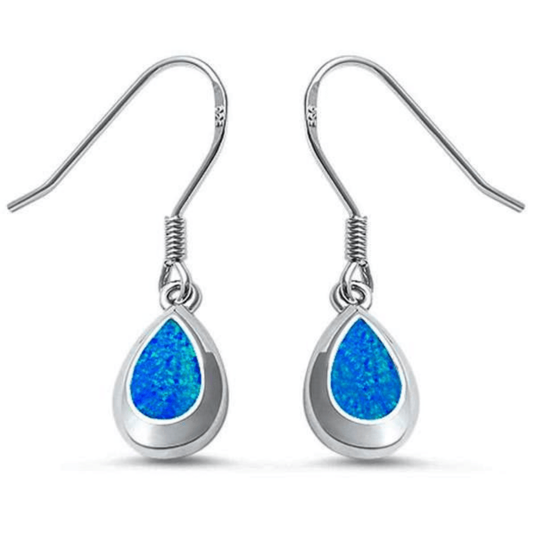 Sterling Silver Blue Opal Teardrop Dangle Earrings - SeaSpray Jewelry