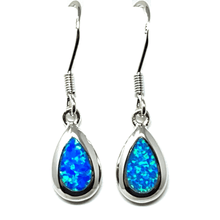 Sterling Silver Blue Opal Teardrop Earrings - SeaSpray Jewelry