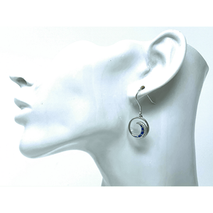 Sterling Silver Blue Opal Wave & CZ Dangle Earrings - SeaSpray Jewelry